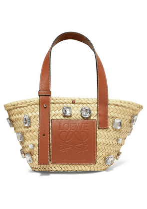Loewe - Embellished Leather-trimmed Woven Raffia Tote - Tan