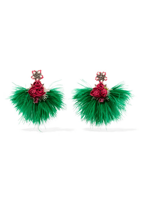 Ranjana Khan - Swan Feather, Mother-of-pearl And Crystal Clip Earrings - Green