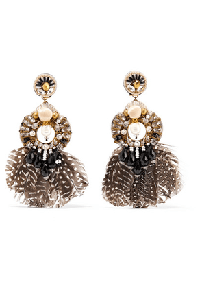 Ranjana Khan - Carambola Gold-tone, Feather, Mother-of-pearl And Crystal Clip Earrings - Black
