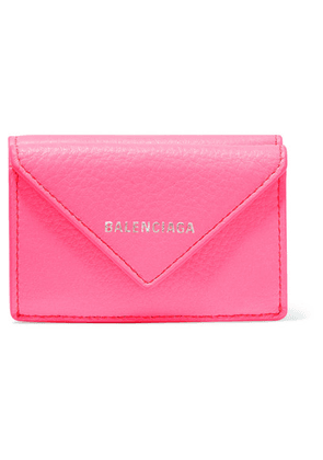 Balenciaga - Papier Mini Printed Textured-leather Wallet - Pink