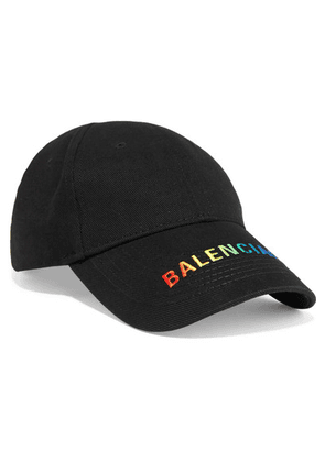 Balenciaga - Embroidered Cotton-twill Baseball Cap - Black