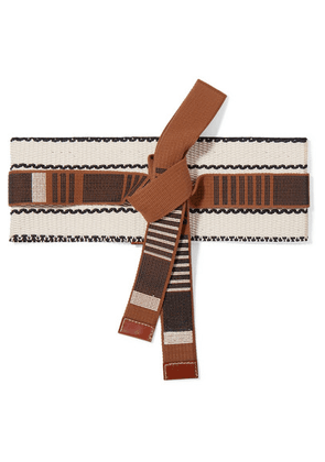 Etro - Leather-trimmed Woven Cotton-canvas Belt - Brown