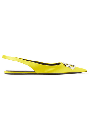 Balenciaga - Knife Logo-embellished Satin Point-toe Flats - Yellow