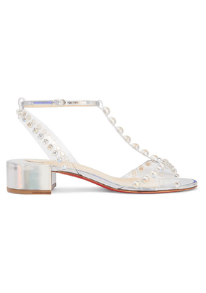Christian Louboutin - Faridaravie 25 Embellished Pvc And Iridescent Leather Sandals - Silver