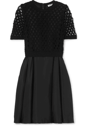 KENZO - Layered Satin And Crocheted Cotton-blend Dress - Black