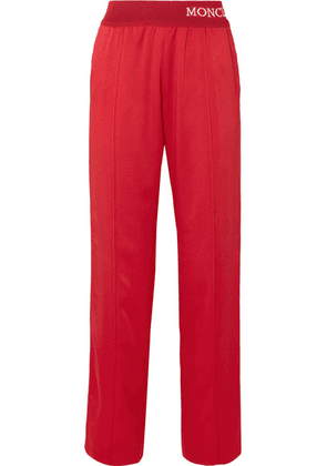 Moncler - Intarsia-trimmed Striped Satin-jersey Track Pants - Red