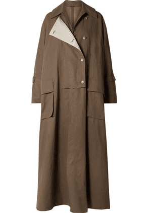 Acne Studios - Oversized Double-breasted Linen Trench Coat - Brown