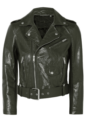 Givenchy - Cropped Textured-leather Biker Jacket - Green