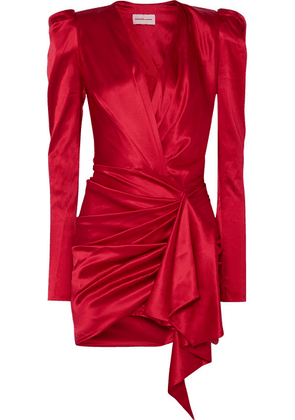 Alexandre Vauthier - Asymmetric Silk-blend Satin Mini Dress - Red