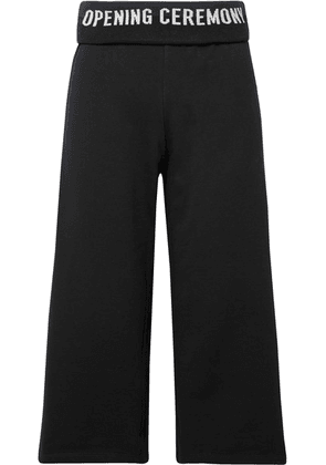 Opening Ceremony - Cropped Ribbed Knit-trimmed Cotton-jersey Wide-leg Pants - Black