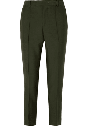 Bottega Veneta - Cropped Mohair And Wool-blend Slim-leg Pants - Green