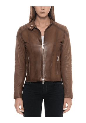 Brown Padded Leather Women's Zip Front Jacket