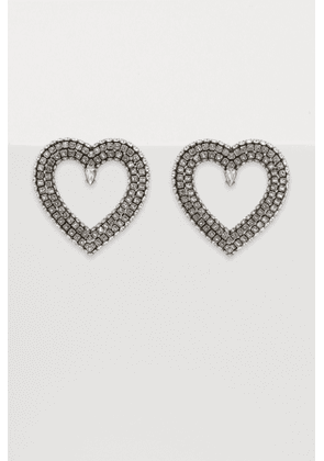 Heart earrings with rhinestones