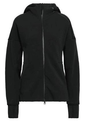 Adidas Woman Printed French Cotton-blend Terry Hoodie Black Size L