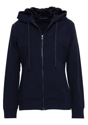 Versace Woman French Stretch-cotton Terry Hooded Jacket Midnight Blue Size 38