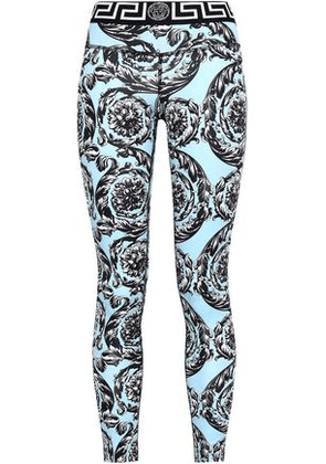 Versace Woman Printed Stretch-jersey Leggings Sky Blue Size I