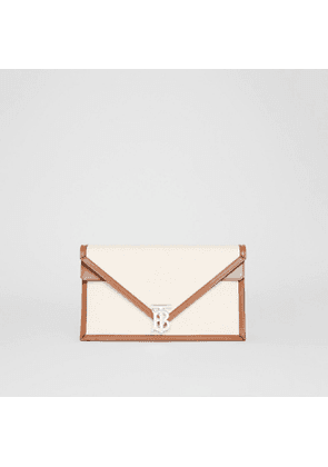 Burberry Small Canvas and Leather TB Envelope Clutch, Brown