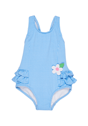 Gingham Ruffle-Trim One-Piece Swimsuit, Size 2-4