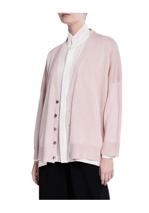 Silk Button-Front High-Low Cardigan