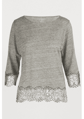 Lace-detail boatneck T-shirt