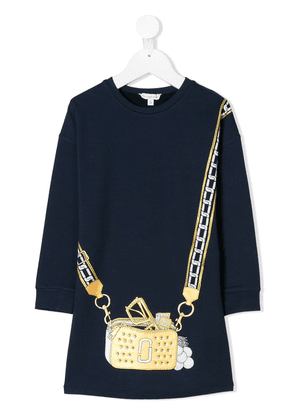 Little Marc Jacobs trompe l'oeil crossbody sweatshirt dress - Blue