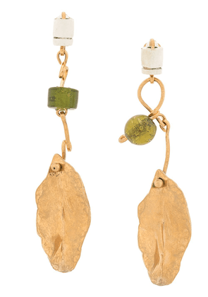 Marni clip-on hanging leaf earrings - Gold