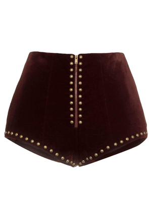 Saint Laurent high waist stud embellished velvet shorts - Red