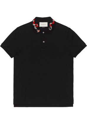 Gucci polo with snake embroidery - Black