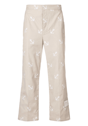 Thom Browne Anchor Embroidery Straight-Leg Chino - Neutrals
