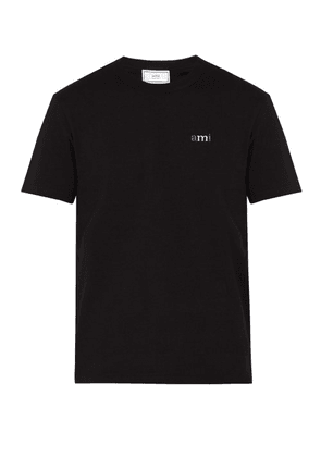Ami - Embroidered Logo Cotton T Shirt - Mens - Black