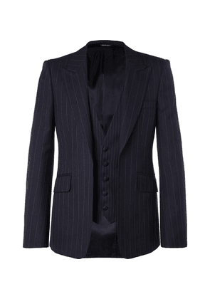 Alexander McQueen - Navy Slim-fit Layered Pinstriped Wool Suit Jacket - Navy