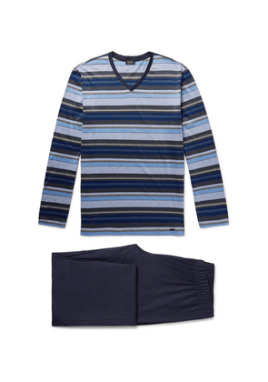 Hanro - Jolan Mercerised Striped Cotton-jersey Pyjama Set - Storm blue
