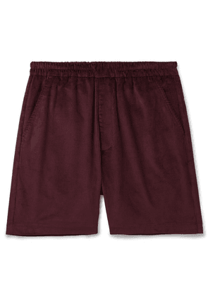 Très Bien - Wide-leg Cotton-corduroy Shorts - Burgundy
