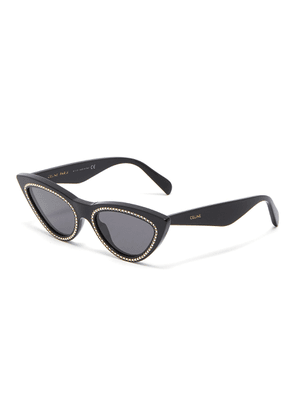 Strass rim acetate cat eye sunglasses