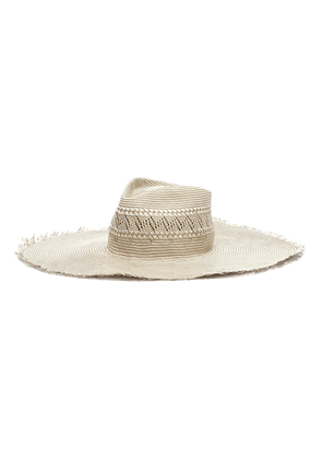 'Belle' packable frayed woven straw hat