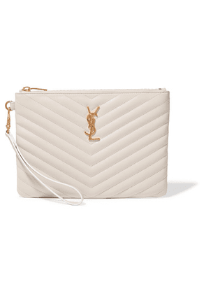 Saint Laurent - Monogramme Quilted Leather Pouch - Cream