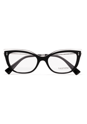 Valentino - Valentino Garavani Cat-eye Acetate And Gold-tone Optical Glasses - Black