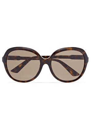 Gucci - Oversized Round-frame Tortoiseshell Acetate Sunglasses - Brown