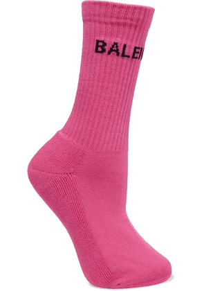 Balenciaga - Intarsia Ribbed Cotton-blend Socks - Pink