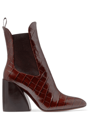 Chloé - Wave Croc-effect Leather Ankle Boots - Dark brown