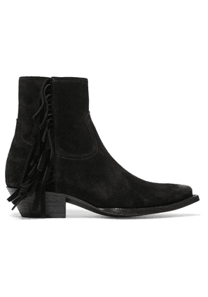 Saint Laurent - Lukas Distressed Fringed Suede Ankle Boots - Black