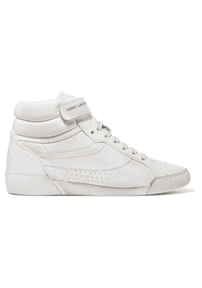 Saint Laurent - Lenny Logo-print Distressed Leather High-top Sneakers - White