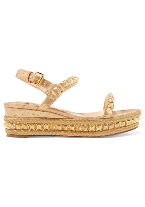 Christian Louboutin - Pyradiams 60 Spiked Lamé Wedge Sandals - Gold