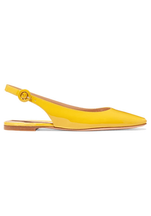 Gianvito Rossi - Patent-leather Slingback Flats - Yellow