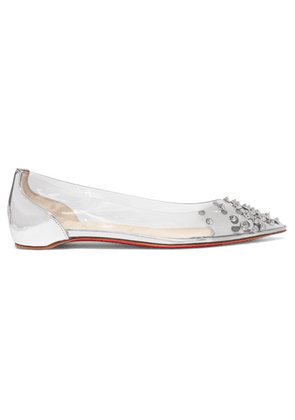 Christian Louboutin - Collaclou Spiked Pvc And Mirrored-leather Point-toe Flats - Silver