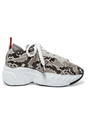 Acne Studios - Manhattan Snake-effect Leather, Suede And Mesh Sneakers - White