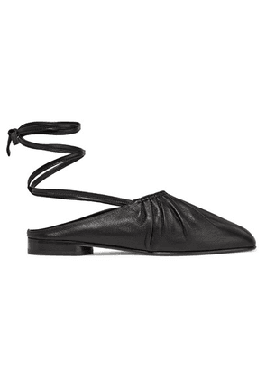3.1 Phillip Lim - Nadia Lace-up Ruched Leather Flats - Black