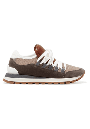 Brunello Cucinelli - Metallic Mesh, Leather And Suede Sneakers - Brown