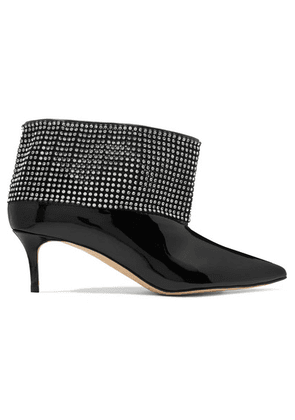 Christopher Kane - Crystal-embellished Patent-leather Ankle Boots - Black