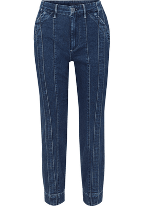 3x1 - + Jason Wu Paneled High-rise Slim-leg Jeans - Dark denim